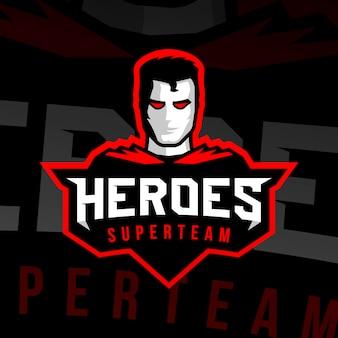 Logo sportivo del supereroe.