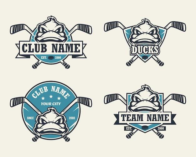 Logo sportivo testa di anatra. set di loghi di hockey.