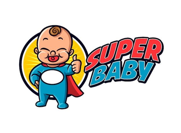 Logo sveglio della mascotte del personaggio del bambino del supereroe del fumetto