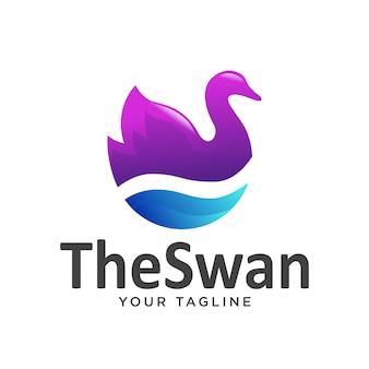 Logo swan semplice sfumatura pulito moderno