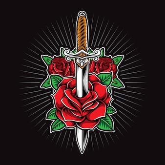 Logo tatuaggio pugnale e rose