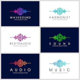 Logo template musica elettronica, suono, equalizzatore, store, dj, night club, discoteca. concetto di logo onda audio.
