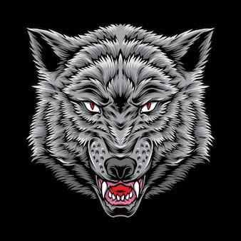 Logo testa di lupo grigio