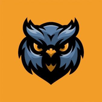Logo testa di mascot di bird owl