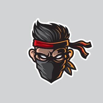Logo testa uomo mascotte