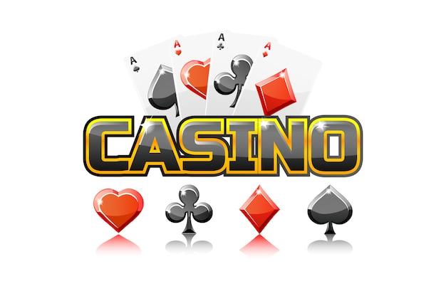 Logo testo casinò e carte da gioco