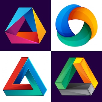 Logo triangolo astratto.