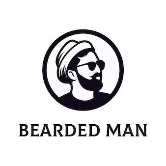 Logo uomo barbuto modello vettoriale
