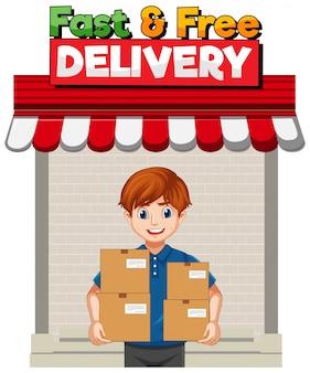 Logo veloce e gratuito con uomo di consegna o corriere in personaggio dei cartoni animati uniforme blu
