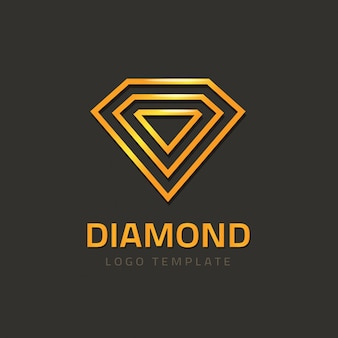 Logo vettoriale diamante o logo gioiello dorato