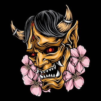 Logo vettoriale giapponese maschera demone