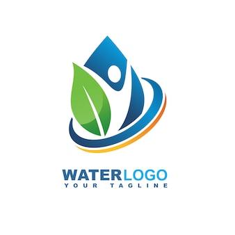 Logo vettoriale goccia d'acqua con foglia e mano