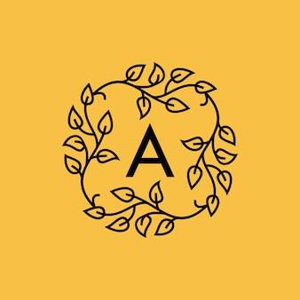 Logo vettoriale iniziale una versione foglia tipografia