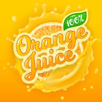 Logo vettoriale per il succo d'arancia su sfondo splash con fetta d'arancia