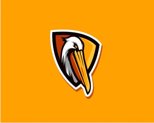 Logo vettoriale semplice pellicano per lo stile di squadra di e-sport