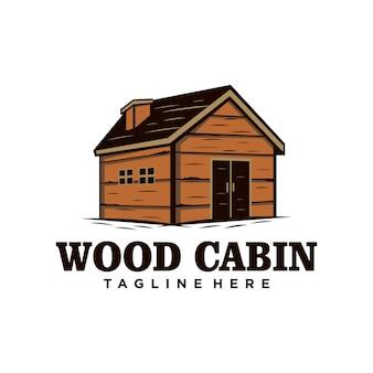 Logo vintage cabina / casa in legno. noleggio cabina