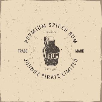 Logo vintage con bottiglia di rum e testo
