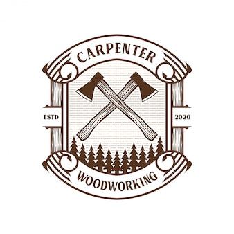 Logo vintage da carpentiere con martello e scalpello per etichetta del marchio