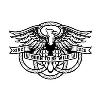 Logo vintage dell'aquila con scudo e corda tonda, premium