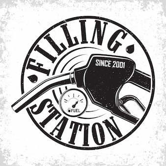 Logo vintage della stazione di benzina, emblema della stazione di benzina, emblema della tipografia della stazione di rifornimento di benzina o diesel, timbri stampati con grange facilmente rimovibili