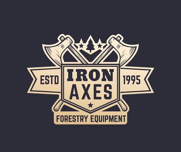 Logo vintage di attrezzatura forestale con asce da boscaiolo