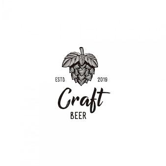 Logo vintage di birra artigianale