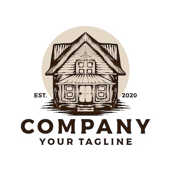 Logo vintage di casa in legno