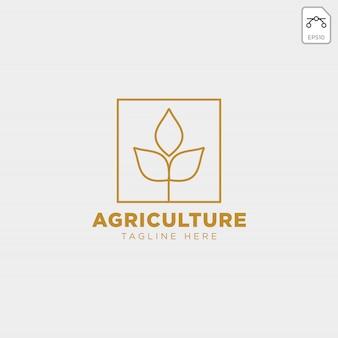 Logo vintage di fattoria agricoltura linea oro distintivo