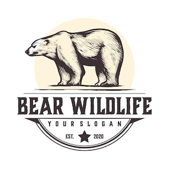 Logo vintage di fauna selvatica orso