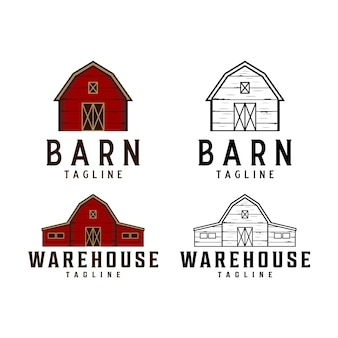 Logo vintage di fienile e magazzino