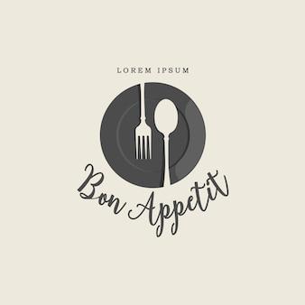 Logo vintage di forchetta e cucchiaio piatto