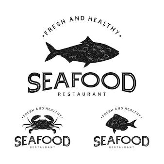Logo vintage di frutti di mare