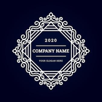 Logo vintage di lusso minimal con ornamento bianco