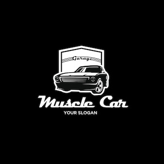 Logo vintage di muscle car silhouette