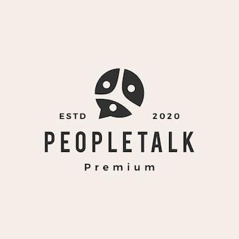 Logo vintage di persone famiglia squadra chat bolla