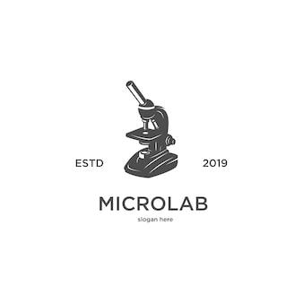Logo vintage di sagoma laboratorio microscopio