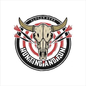 Logo vintage di teschio e dardi di mucca