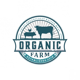 Logo vintage fattoria biologica
