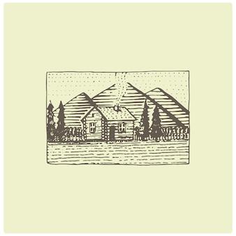 Logo vintage inciso con montagne disegnate a mano, stile schizzo, distintivo retrò dall'aspetto antico per parchi nazionali e tema campeggio, alpino ed escursionistico