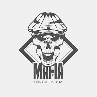 Logo vintage mafioso gangster con teschio