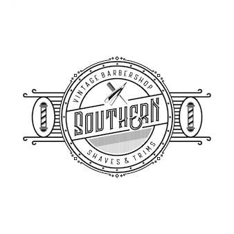 Logo vintage per barbiere con elementi a forbice e lamette da barba