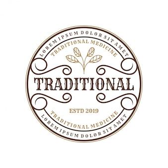 Logo vintage per medicine tradizionali per l'etichetta del marchio