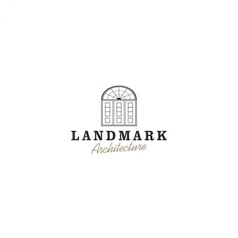 Logo vintage porta, architettura vintage