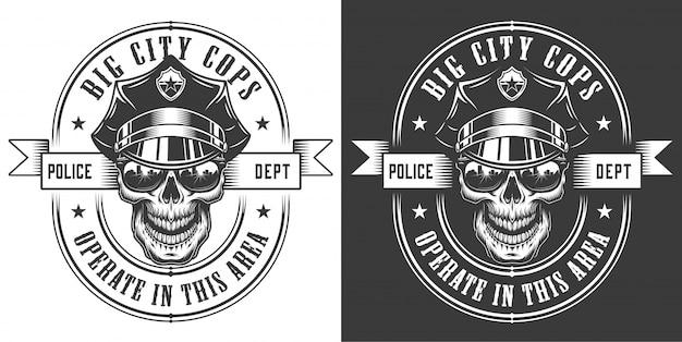 Logo vintage ufficiale di polizia monocromatico