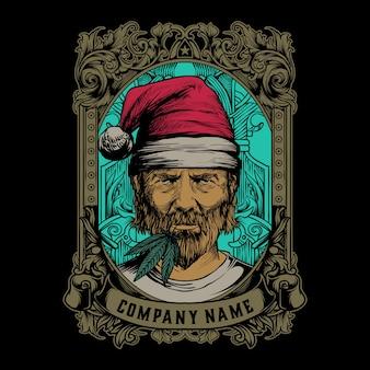 Logo vintage uomo cannabis barbuto