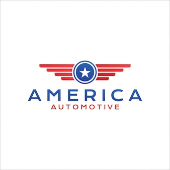 Logo wings and star automotive america