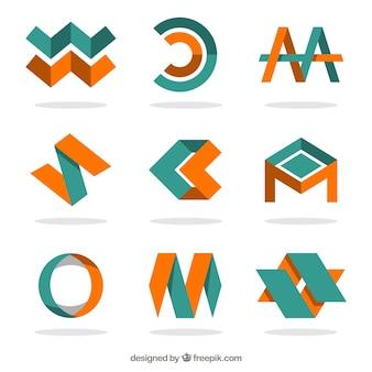Logotipi arancione e verde in stile astratto