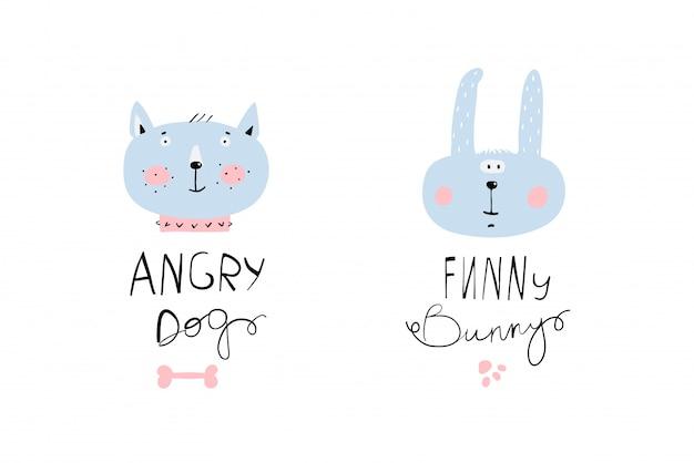Logotipi divertenti coniglietto e cane arrabbiato