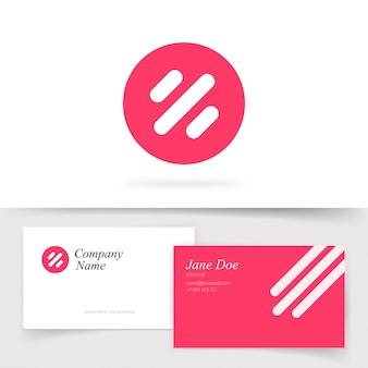 Logotipo astratto rotondo con linee o modello logo rosso con modello di biglietto da visita