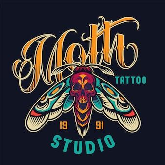 Logotipo colorato studio tatuaggio vintage